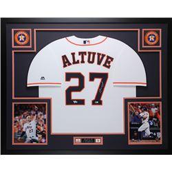 Jose Altuve Signed 35x43 Custom Framed Jersey (Fanatics Hologram)