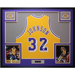 Magic Johnson Signed 35x43 Custom Framed Jersey (JSA COA)