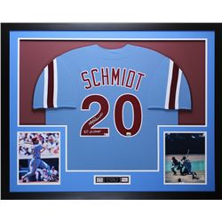 "Mike Schmidt Signed 35x43 Custom Framed Jersey Inscribed ""80 WS Champs"" (Fanatics Hologram)"