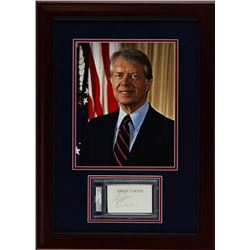 Jimmy Carter Signed 20x27 Custom Framed Cut Display (PSA Encapsulated)