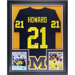 "Desmond Howard Signed 34x42 Custom Framed Jersey Inscribed ""'91 Heisman"" (Radtke COA)"