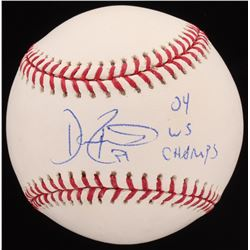 "Dave Roberts Signed OML Baseball Inscribed ""04 WS Champs"" (JSA COA)"