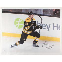 "Ryan Donato Signed Boston Bruins 34x43.5 Photo on Canvas Inscribed ""First NHL Goal 3-18-18"" (Donato"