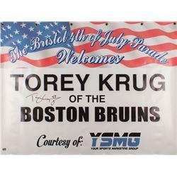 Torey Krug Signed Boston Bruins 35.5x47.5 Bristol 4th Of July Appearance Banner (Krug Hologram)