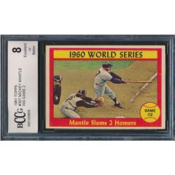 1961 Topps #307 World Series Game 2 / Mickey Mantle (BCCG 8)