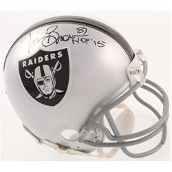 "Tim Brown Signed Oakland Raiders Mini-Helmet Inscribed ""HOF '15"" (Radtke COA)"