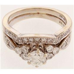 White  Gold Diamond Two Piece Wedding Set Ring