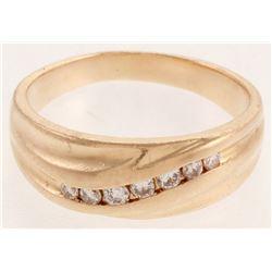 14kt Yellow  Gold Diamond Gentleman's Band Ring
