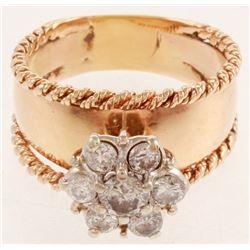 Vintage 14kt Two Tone, White  Yellow Gold Diamond Fashion Ring