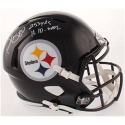 """Plaxico Burress Signed Pittsburgh Steelers Full-Size Speed Helmet Inscribed """"253 Yds""""  """"11. 10. 2002"""