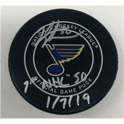 "Jordan Binnington Signed St. Louis Blues Logo Hockey Puck Inscribed ""1st NHL S0""  ""1/7/19"" (Fanatics"