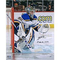 "Jordan Binnington Signed St. Louis Blues 16x20 Photo Inscribed ""1st NHL SO 1/7/19"" (Fanatics Hologra"
