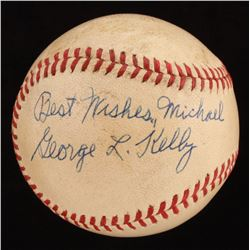 """George Kelly Signed ONL Baseball Inscribed """"Best Wishes"""" (PSA LOA)"""