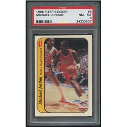 1986-87 Fleer Stickers #8 Michael Jordan RC (PSA 8)
