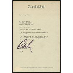 Calvin Klein Signed 6x9 Letter (JSA COA)