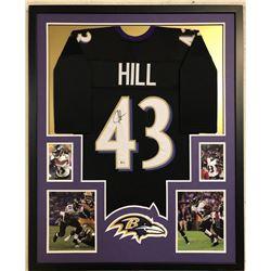 Justice Hill Signed 34x42 Custom Framed Jersey (Beckett COA)