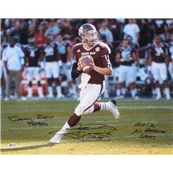Johnny Manziel Signed Texas AM Aggies 16x20 Photo with Multiple Inscriptions (Beckett COA)
