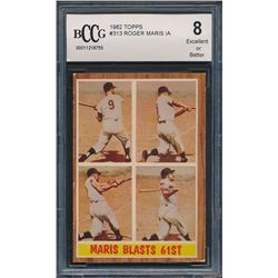 1962 Topps #313 Roger Maris In Action (BCCG 8)