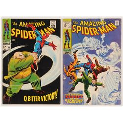 """Lot of (2) 1967-69 """"The Amazing Spider-Man"""" Marvel Comic Books with #60  #74"""