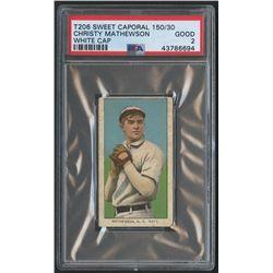 1909-11 T206 #309 Christy Mathewson / White Cap - Sweet Caporal (PSA 2)