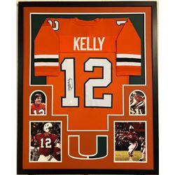 Jim Kelly Signed 34x42 Custom Framed Jersey (JSA COA)