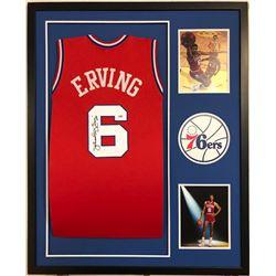 Julius Erving Signed 34x42 Custom Framed Jersey (PSA COA)