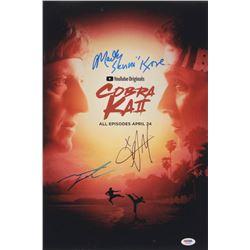 "Martin Kove, Xolo Mariduena  Tanner Buchanan Signed ""Cobra Kai"" 12x18 Photo (PSA LOA)"