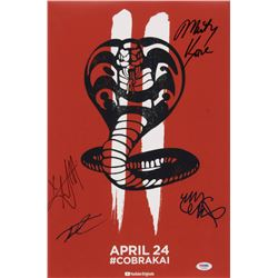 """Cobra Kai"" 12x18 Photo Cast-Signed by (4) with Martin Kove, Xolo Mariduena, Tanner Buchanan  Mary M"
