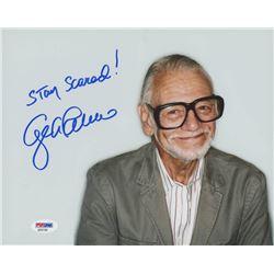 "George Romero Signed 8x10 Photo Inscribed ""Stay Scared!"" (PSA COA)"