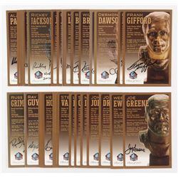 Lot of (36) LE Bronze Bust Football Hall of Fame Postcards with (25) Signed with Jack Ham, Ray Guy,