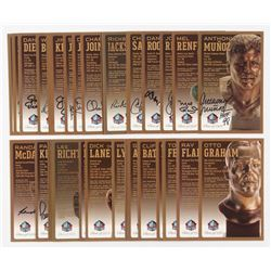 Lot of (35) LE Bronze Bust Football Hall of Fame Postcards with (22) Signed with Dan Rooney, Charlie