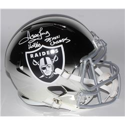 "Howie Long Signed Los Angeles Raiders Chrome Full-Size Speed Helmet Inscribed ""HOF 00""  ""SB XVIII Ch"