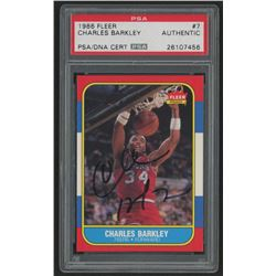Charles Barkley Signed 1986-87 Fleer #7 RC (PSA Encapsulated)