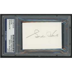 Gordie Howe Signed 2x3 Cut (PSA Encapsulated)