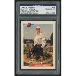 Chipper Jones Signed 1992 Bowman #28 (PSA Encapsulated)
