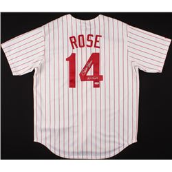 """Pete Rose Signed Phillies Jersey Inscribed """"Hit King"""" (PSA Hologram)"""