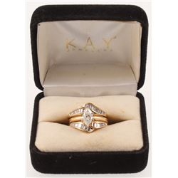 Contemporary 14kt Yellow Gold  Diamond (2) Two-Piece Wedding Set