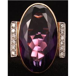 Contemporary 14kt Yellow Gold Amethyst  Diamond Ring