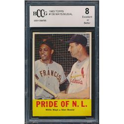 1963 Topps #138 Pride of NL / Willie Mays / Stan Musial (BCCG 8)