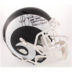 "Marshall Faulk Signed St. Louis Rams Matte Black Full-Size Speed Helmet Inscribed ""HOF 20XI"", ""SB XX"