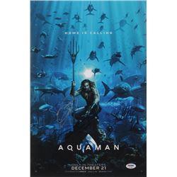"Jason Momoa, Patrick Wilson  James Wan Cast-Signed ""Aquaman"" 12x18 Photo (PSA LOA)"