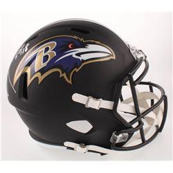 """Ray Lewis Signed Baltimore Ravens Matte Black Full-Size Speed Helmet Inscribed """"HOF 18"""" (Beckett COA"""