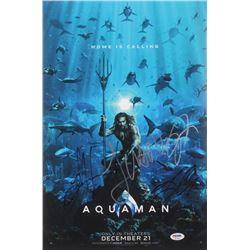 """Aquaman"" 12x18 Poster Cast-Signed by (4) with Jason Momoa, Amber Heard, Patrick Wilson  James Wan ("
