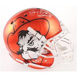 Barry Sanders Signed Oklahoma State Cowboys Orange Chrome Full-Size Authentic On-Field Helmet Inscri