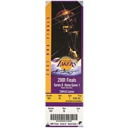 "Kobe Bryant Signed Los Angeles Lakers ""2001 NBA Finals"" 9x33 LE Oversized Ticket on Canvas (Panini C"