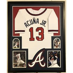 Ronald Acuna Jr. Signed 34x42 Custom Framed Jersey (JSA COA)