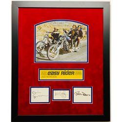 "Jack Nicholson, Dennis Hopper  Peter Fonda Signed ""Easy Rider"" 18x22 Custom Framed Display (JSA LOA)"