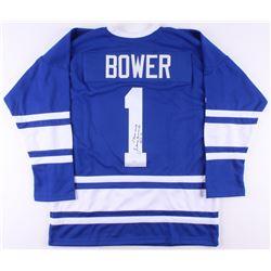 "Johnny Bower Signed Jersey Inscribed ""HOF 76"" (JSA COA)"