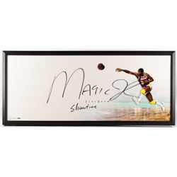 """Magic Johnson Signed Los Angeles Lakers 20x46 Custom Framed Photo Display Inscribed """"Showtime"""" (Uppe"""
