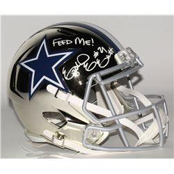 "Ezekiel Elliott Signed Dallas Cowboys Full-Size Chrome Speed Helmet Inscribed ""Feed Me!"" (Radtke COA"